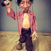 Borracho Feliz!, marioneta de 4 hilos y vástago para el giro de cabeza  #marioneta  #marionetadeborracho #puppets #ricimarionettes